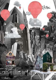 collage; architecture; landscape