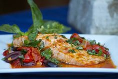 Grilled Salmon with Tomato Pepper Relish & Black Olives