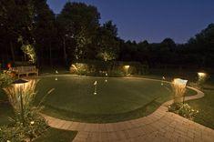 backyard lighted putting green Home Putting Green, Outdoor Putting Green, Outdoor Garden Decor, Outdoor Landscaping, Landscaping Ideas, Backyard Lighting, Outdoor Lighting, Lighting Ideas, Green Landscape