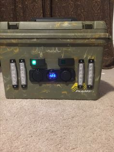 Kayak battery box Plano field box two 12 volt batteries wired in sequence led lights USB ports and voltage indicator. Ice Fishing Sled, Fishing Box, Kayak Fishing, Fishing Tips, Fishing Stuff, Kayak Rack, Kayak Storage, Duck Hunting Boat, Coyote Hunting
