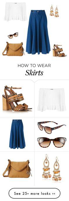 """Bardot Top & Denim Skirt"" by jpschwartz on Polyvore"