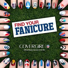 Covergirl & NFL   - Find your favorite team and the instructions how to create the nail art.