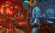 Welcome to the famous Jazz Pepper Club! A scene from our top-rated HOPA game Cadenza: Music, Betrayal and Death. Fantasy Rooms, Fantasy City, Fantasy Castle, Fantasy Places, Medieval Fantasy, Fantasy World, Fantasy Art Landscapes, Fantasy Landscape, Chroma Key