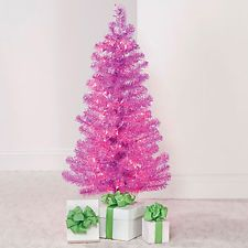 4 Ft Pink Tinsel Prelit Christmas Tree W Stand New In Box Fast Shipping Pre