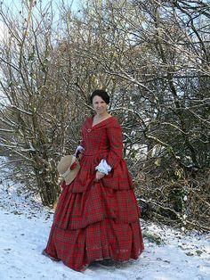 Red tarten 1850s gown