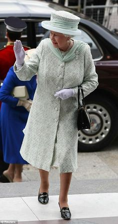 The Queen's long-serving couturier Angela Kelly designed the monarch's spectacular outfit today, a vision in mint green with glittering crystals and flowing chiffon