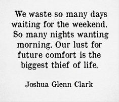Our lust for future comfort is the biggest thief of life - Joshua Glenn Clark