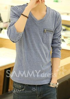 Fashion Solid Color Zipper Design V-Neck Long Sleeve Slimming Cotton T-shirt For Men