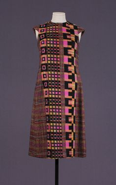 1960s psychedelic woven wool dress