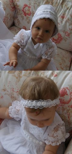 DAISY Christening Gown White Lace Baptism Gown Baptism Christening Blanket, Christening Gowns, Baptism Dress, Satin Roses, Dress Making, White Lace, Little Girls, Daisy, Tulle