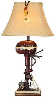 Vintage Outboard Motor Table Lamp