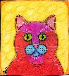 Cat Print Abigail Tortie Cat Original Design Illustration