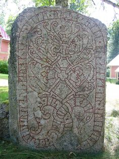 Runestone found in Drävle, and moved to the manor house Göksbo.  It has an image of Sigurd who thrusts his sword through the serpent, and the dwarf Andvari, as well as the Valkyrie Sigrdrífa who gives Sigurd a drinking horn. The runestone has a stylized Christian cross, taken as evidence of the acceptance a (1200×1600)