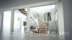 Helical staircase COBRA design with white strings and curved glass railing, find more helical stairs on our homepage www.stairs-siller.com Open Stairs, Glass Railing, Curved Glass, Pink Houses, Staircase Design, Open Plan, Interior Architecture, Staircases, The Originals