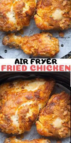 Easy and delicious, crispy and juicy, fried chicken made in your Air Fryer. This… Easy and delicious, crispy and juicy, fried chicken made in your Air Fryer. This Air Fryer Chicken recipe is easier and healthier than stove top deep frying. Air Fryer Fried Chicken, Air Fried Food, Fried Chicken Recipes, Chicken Fried Chicken, Chicken Gravy, Air Fryer Chicken Thighs, Healthy Chicken, Garlic Chicken, Air Fry Chicken