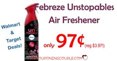 HOT DEAL! Febreze Unstopables Air Freshener! Only $0.97 - $0.99 at Walmart and Target! GREAT PRICE! (reg $3.97-$3.99!)  Click the link below to get all of the details ► http://www.thecouponingcouple.com/febreze-unstopables-air-freshener-0-97-deals-at-walmart-and-target/ #Coupons #Couponing #CouponCommunity  Visit us at http://www.thecouponingcouple.com for more great posts!