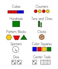 Math Manipulatives Labels For Envision