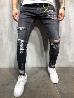 Men's New Black Elastic Foot Holes Print Letter Pant Fashion slim fit jeans jean - Men's style, accessories, mens fashion trends 2020 Slim Fit Ripped Jeans, Skinny Biker Jeans, Super Skinny Jeans, Skinny Fit, Denim Jeans Men, Black Jeans, Denim Leggings, Streetwear Jeans, Fashion Pants
