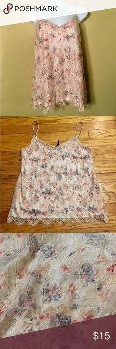 NWT Floral Lace Camisole Brand new with tags still attached!  Silky floral shell camisole with delicate champagne pink overlay.  Adorable on! Tops Camisoles
