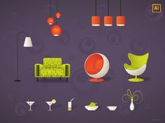 furniture free vector 1x1 45 Free Retro and Vintage Design Resources