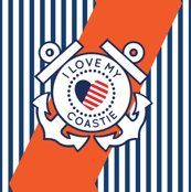 I Love My Coastie fabric with stripes #USCG