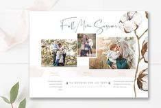 Cotton Fall Mini Session Marketing Template, Photographer Templates — By Stephanie Design Photography Marketing, Photography Logos, Photography Backdrops, Photography Studios, Photography Mini Sessions, Children Photography, Fall Mini Sessions, Flyer Design Templates, Graphic Design Studios