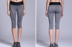 [ATHLETE] Women Sports Capri Leggings Yoga Pants Fitness Running Woman Gray Pant #Athlete #PantsTightsLeggings