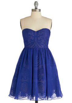 Syzygy Golly Dress - Short, Blue, Print, Formal, Party, A-line, Strapless