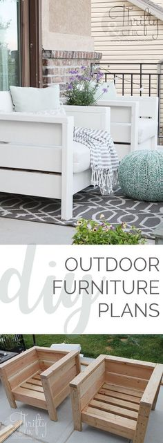 DIY outdoor porch or patio furniture. Learn how to make these chairs for about $20 each! Porch and patio decor and decorating ideashttp://www.thriftyandchic.com/2017/07/diy-outdoor-chairs-and-porch-makeover.html
