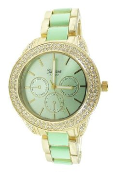 New Ladies Gold Plated Lab Diamond Chronograph Look Oversize Bracelet Watch Mint $24.99