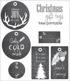 Christmas blackboard gift tags - Free printable Free Printable Gift Tags, Free Printables, Christmas Stuff, Christmas Crafts, Blackboards, Chalkboard, Entertaining, Winter, Wall