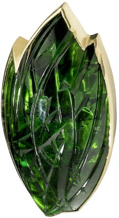 Charlotte de Syllas, Fish Brooch, Carved tourmaline set in 18ct green gold