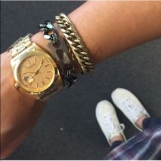 NEW! Oversized gold-colored watch MSRP $58 Perfect addition to any arm party...and it tells time too!  water resistant face, nickel-free, made from base metals, adjustable clasp and removeable links. Brand new retail item. Price firm. MSRP $58. T&J Designs Accessories Watches