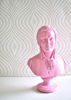 Mozart Bust Statue in pretty pink