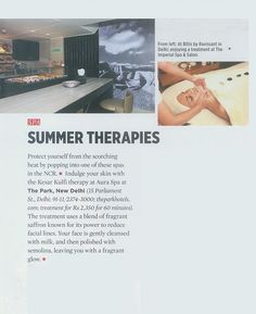 Summer Therapies at Aura as featured in Travel + Leisure