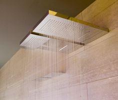 Agua, stainless steel wall mounted waterfall showerhead by Antonio Lupi_
