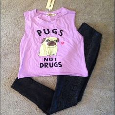 Pugs Not Drugs Top Brand new with original tags! I love pugs so this shirt was a wonderful gift, but sadly not my size. Adorable purple top with a cute picture of a pug! Crop top style and was cut to seem similar to a muscle tee. Great shirt that deserves to be worn!  feel free to make me an offer Reverse Tops Crop Tops