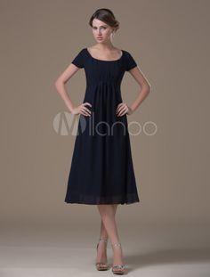 A-line Dark Navy Chiffon Maternity Bridesmaid Dress with Jewel Neck High Rise Waist - Milanoo.com