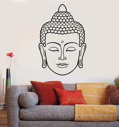 Vinyl Wall Decal Buddha Face Head Buddhism India God Religion Stickers (1434ig)