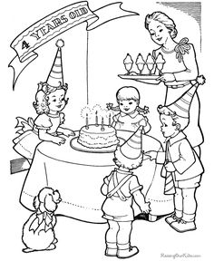 Free printable birthday party color page