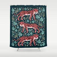 Shower Curtains featuring Safari Tiger by Andrea Lauren  by Andrea Lauren Design