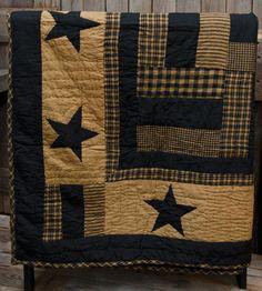 New Primitive Country Folk Art  BLACK  & TAN STAR QUILT Throw Blanket