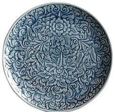 Blue Celadon Plates- Allover Floral, Small asian-dinner-plates