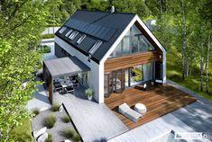 Projekt domu EX 19 Energo Plus - Modern Barn House, Modern House Design, Future House, Modern Farmhouse Exterior, Dream House Exterior, Facade House, House Facades, House Exteriors, Bungalows
