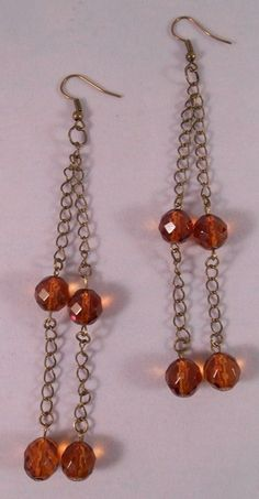 Brown Glass Bead and Chain Drops