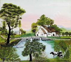 "'Farm Along the River"",  Grandma Moses                                                                                                                                                                                 More"