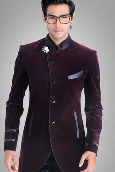 Men Designer Wedding Groom Indowestern Velvet Dinner Casual Coat Jacket Blazer