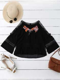 SHARE & Get it FREE | Embroidered Crochet Panel Cold Shoulder Blouse - BlackFor Fashion Lovers only:80,000+ Items • New Arrivals Daily Join Zaful: Get YOUR $50 NOW!