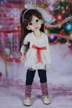 "Cream T shirt and Jeans set for Kaye Wiggs 17""(43cm) Talyssa,Mei Mei MSD BJD"