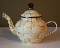 NEW MacKenzie Childs Parchment Check Enamel Steel 4 Cup Teapot Lid Checkered #MacKenzieChilds